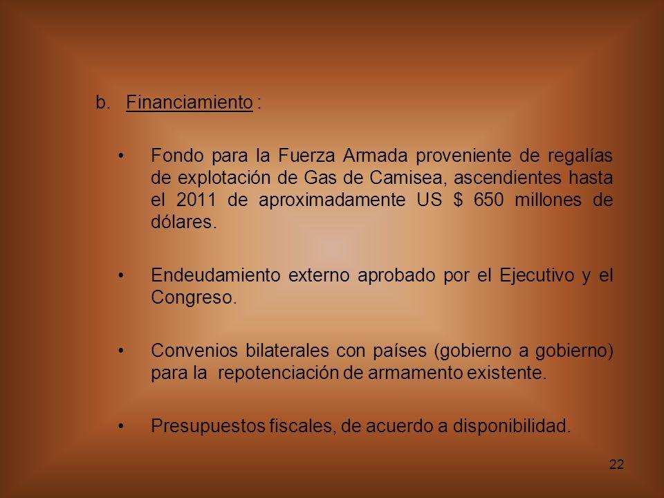 22 b. Financiamiento : Fondo para la Fuerza Armada proveniente de regalías de explotación de Gas de Camisea, ascendientes hasta el 2011 de aproximadam