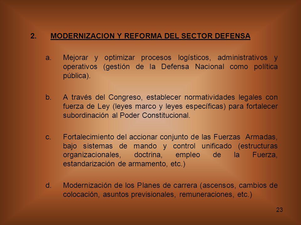 23 2.MODERNIZACION Y REFORMA DEL SECTOR DEFENSA a.Mejorar y optimizar procesos logísticos, administrativos y operativos (gestión de la Defensa Nacional como política pública).