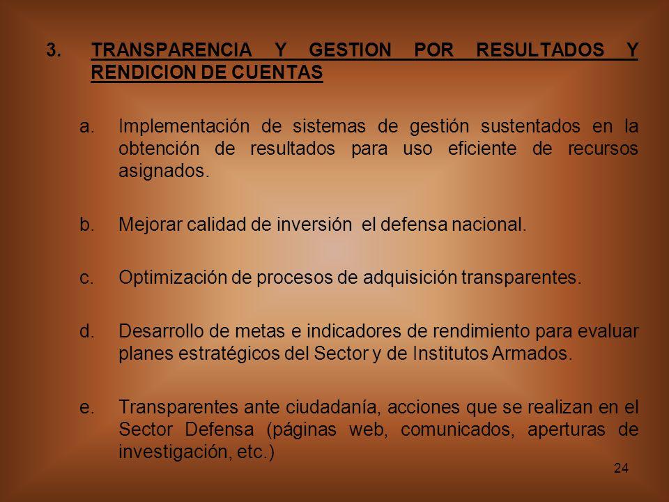 24 3.TRANSPARENCIA Y GESTION POR RESULTADOS Y RENDICION DE CUENTAS a.Implementación de sistemas de gestión sustentados en la obtención de resultados para uso eficiente de recursos asignados.