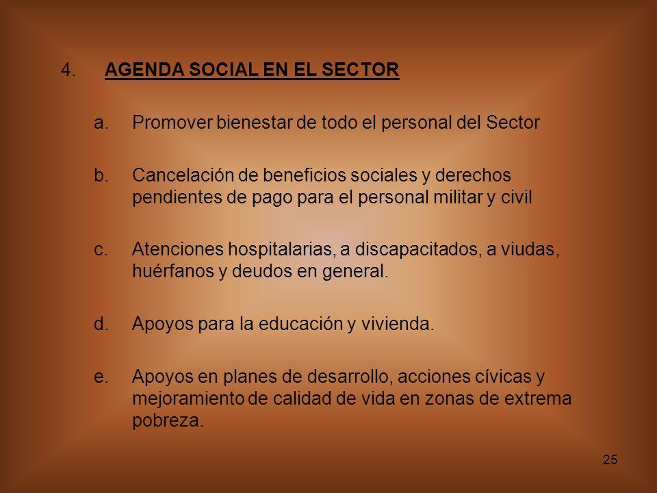 25 4.AGENDA SOCIAL EN EL SECTOR a.Promover bienestar de todo el personal del Sector b.Cancelación de beneficios sociales y derechos pendientes de pago