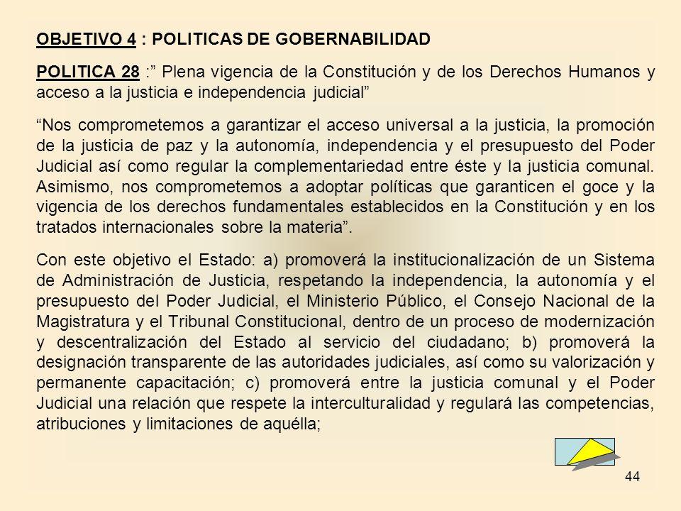 44 OBJETIVO 4 : POLITICAS DE GOBERNABILIDAD POLITICA 28 : Plena vigencia de la Constitución y de los Derechos Humanos y acceso a la justicia e indepen
