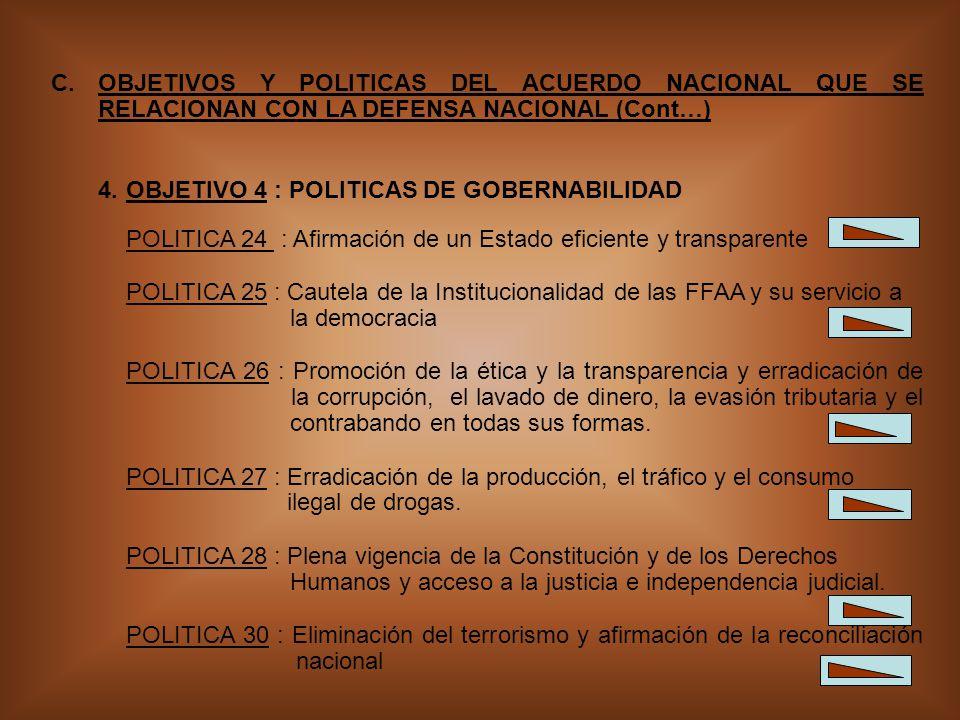 6 C.OBJETIVOS Y POLITICAS DEL ACUERDO NACIONAL QUE SE RELACIONAN CON LA DEFENSA NACIONAL (Cont…) 4.OBJETIVO 4 : POLITICAS DE GOBERNABILIDAD POLITICA 24 : Afirmación de un Estado eficiente y transparente POLITICA 25 : Cautela de la Institucionalidad de las FFAA y su servicio a la democracia POLITICA 26 : Promoción de la ética y la transparencia y erradicación de la corrupción, el lavado de dinero, la evasión tributaria y el contrabando en todas sus formas.