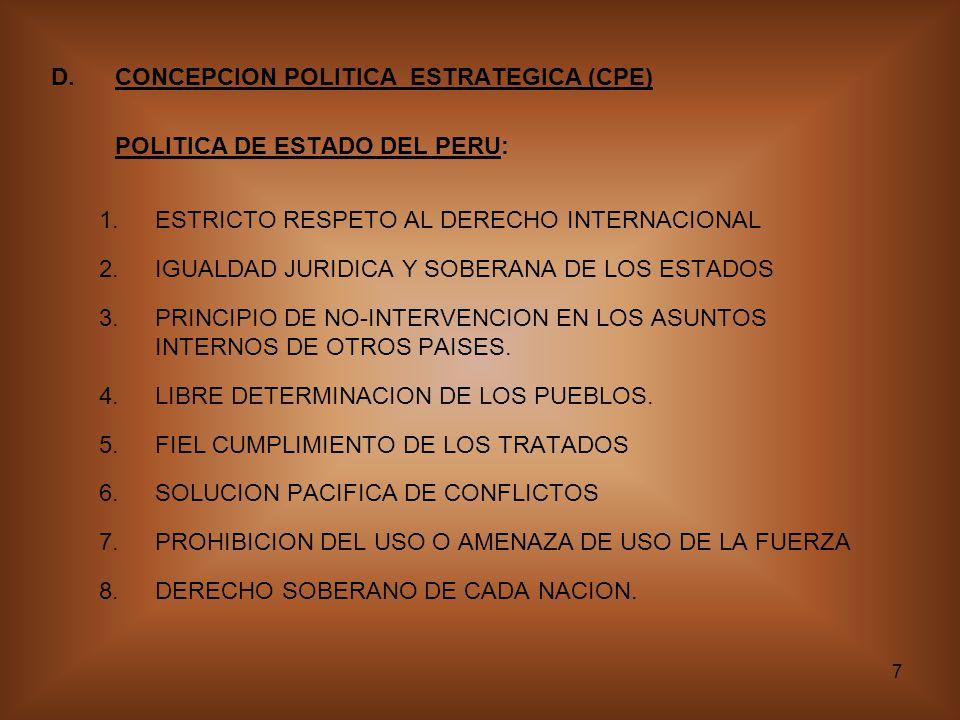 7 D.CONCEPCION POLITICA ESTRATEGICA (CPE) POLITICA DE ESTADO DEL PERU: 1.ESTRICTO RESPETO AL DERECHO INTERNACIONAL 2.IGUALDAD JURIDICA Y SOBERANA DE LOS ESTADOS 3.PRINCIPIO DE NO-INTERVENCION EN LOS ASUNTOS INTERNOS DE OTROS PAISES.
