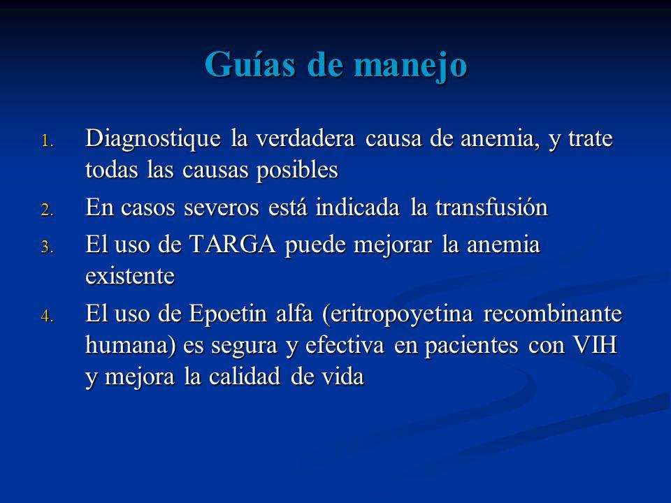Guías de manejo 1.Diagnostique la verdadera causa de anemia, y trate todas las causas posibles 2.