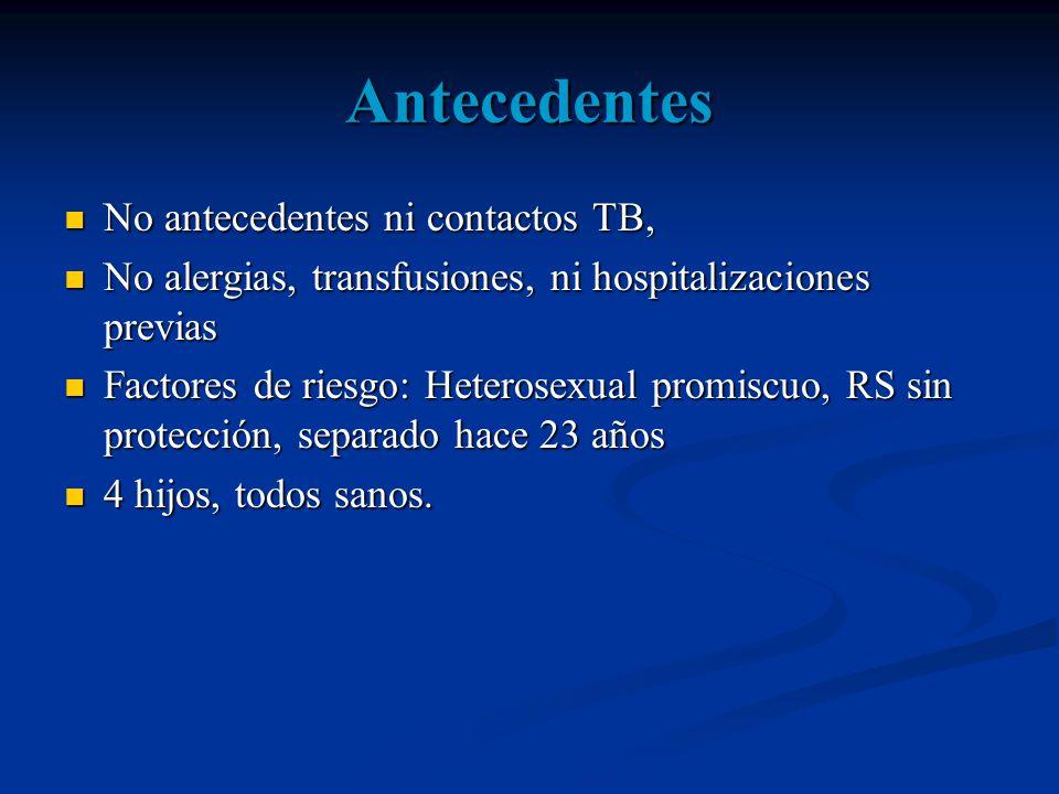 EXAMEN CLINICO PA:100/60 FC:86 FR:18 T:36° Adelgazado, REH REG, LOTEP, pálido Mucosas orales húmedas pálidas.