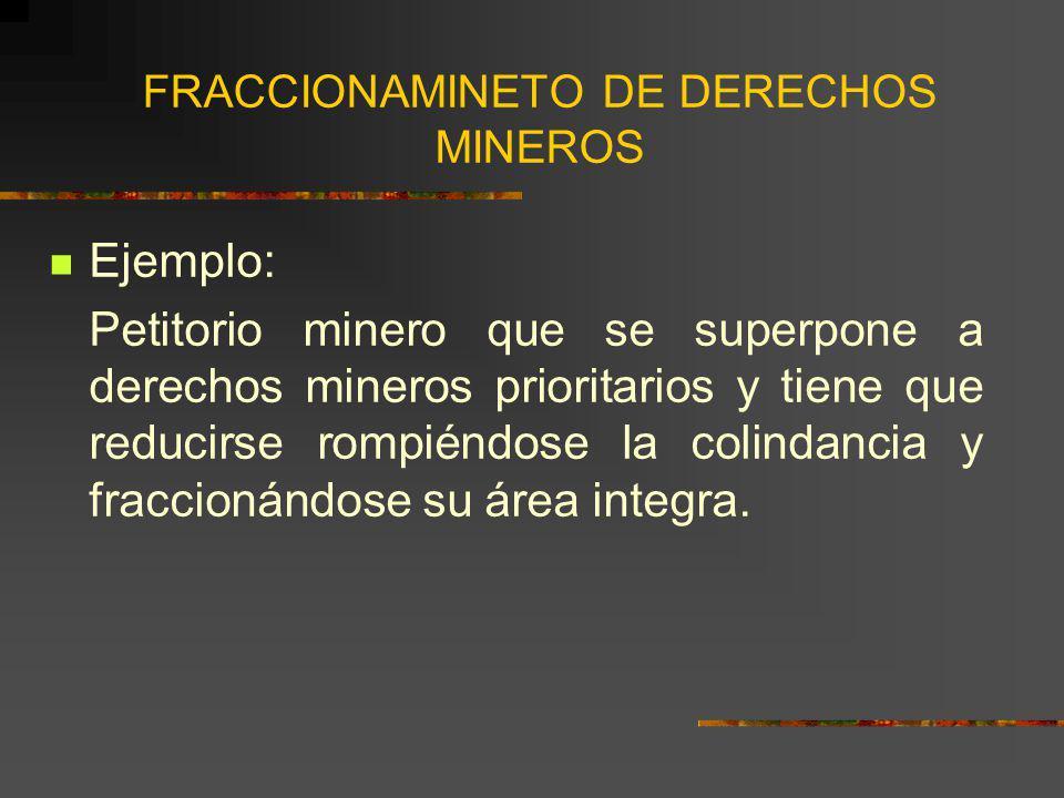 FRACCIONAMINETO DE DERECHOS MINEROS Ejemplo: Petitorio minero que se superpone a derechos mineros prioritarios y tiene que reducirse rompiéndose la co