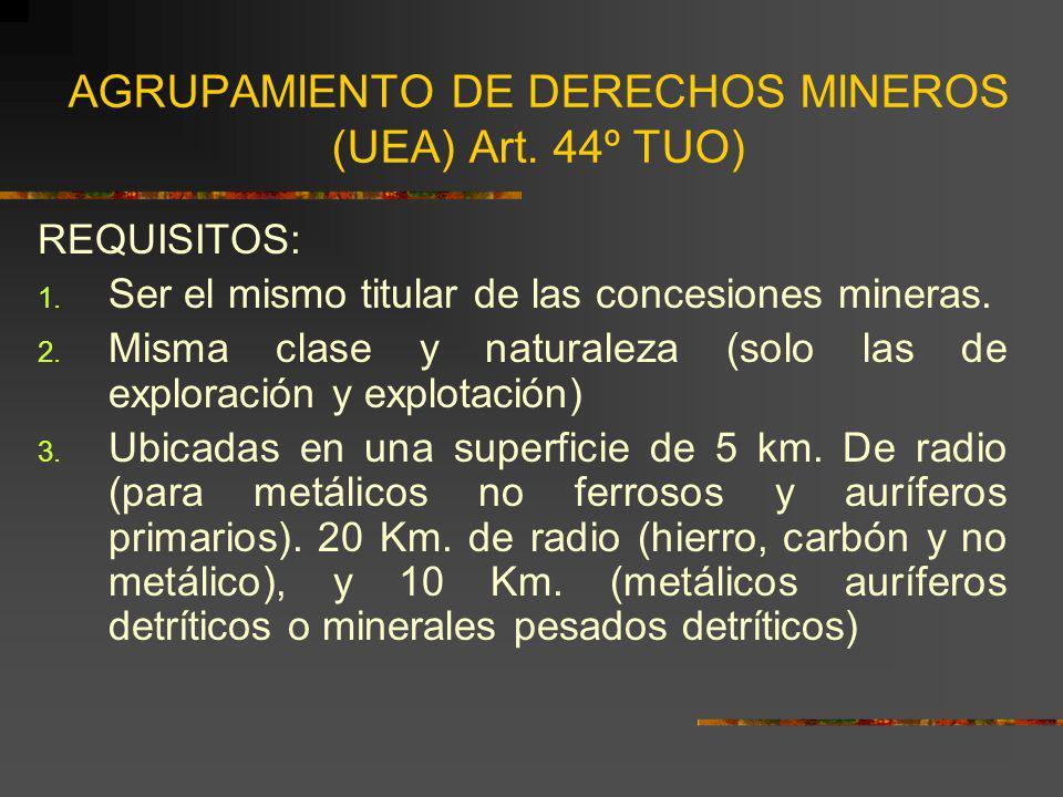 AGRUPAMIENTO DE DERECHOS MINEROS (UEA) Art. 44º TUO) REQUISITOS: 1. Ser el mismo titular de las concesiones mineras. 2. Misma clase y naturaleza (solo