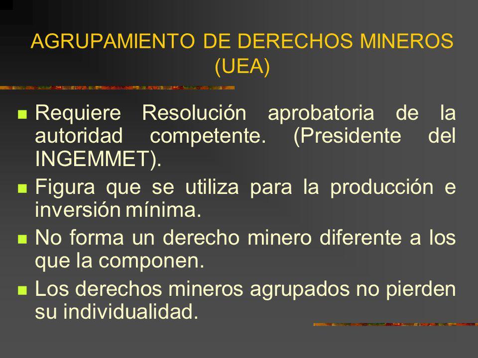 AGRUPAMIENTO DE DERECHOS MINEROS (UEA) Requiere Resolución aprobatoria de la autoridad competente. (Presidente del INGEMMET). Figura que se utiliza pa