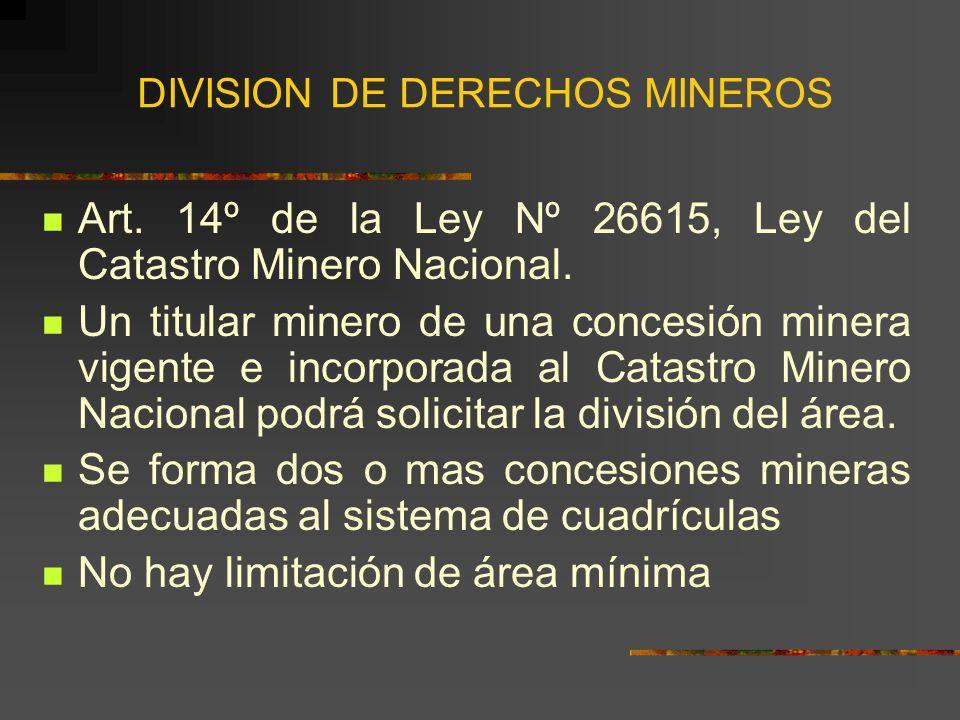 DIVISION DE DERECHOS MINEROS Art. 14º de la Ley Nº 26615, Ley del Catastro Minero Nacional. Un titular minero de una concesión minera vigente e incorp