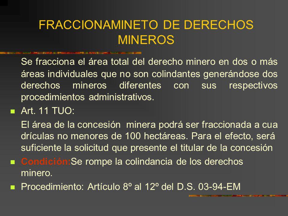 FRACCIONAMINETO DE DERECHOS MINEROS Se fracciona el área total del derecho minero en dos o más áreas individuales que no son colindantes generándose d