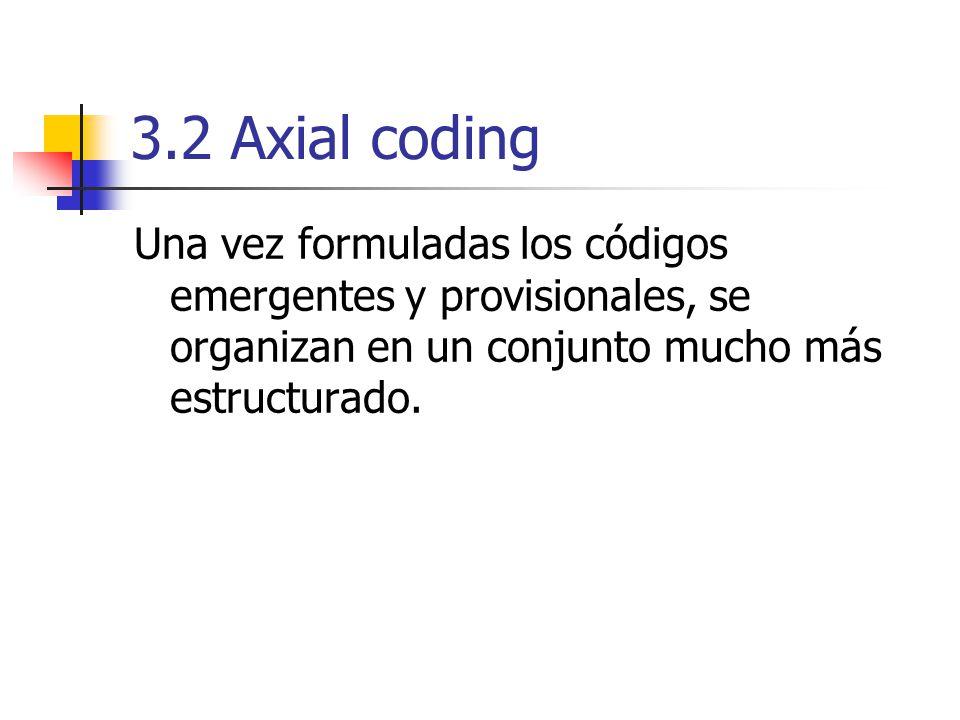 Los códigos se agrupan, conformando las subcategorías y categorías (familias).
