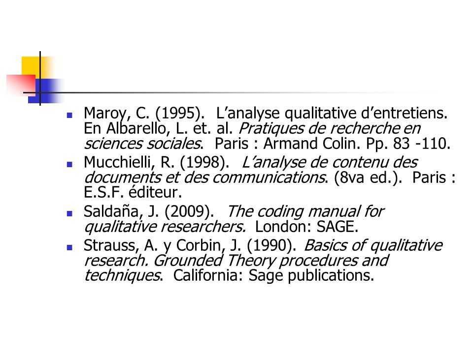 Maroy, C.(1995). Lanalyse qualitative dentretiens.