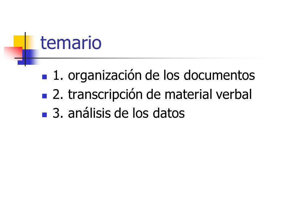 temario 1.organización de los documentos 2. transcripción de material verbal 3.