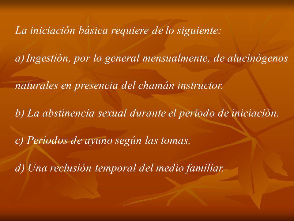La iniciación básica requiere de lo siguiente: a)Ingestión, por lo general mensualmente, de alucinógenos naturales en presencia del chamán instructor.