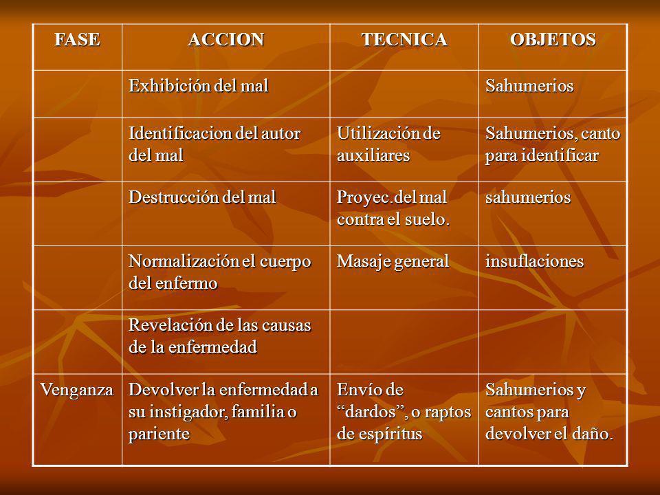 FASEACCIONTECNICAOBJETOS Exhibición del mal Sahumerios Identificacion del autor del mal Utilización de auxiliares Sahumerios, canto para identificar D