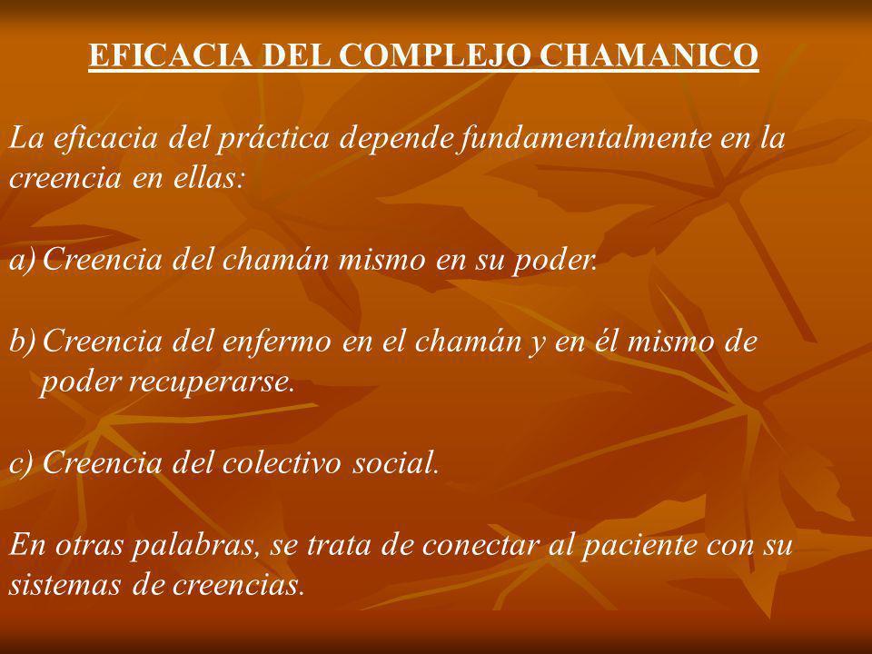 EFICACIA DEL COMPLEJO CHAMANICO La eficacia del práctica depende fundamentalmente en la creencia en ellas: a)Creencia del chamán mismo en su poder. b)