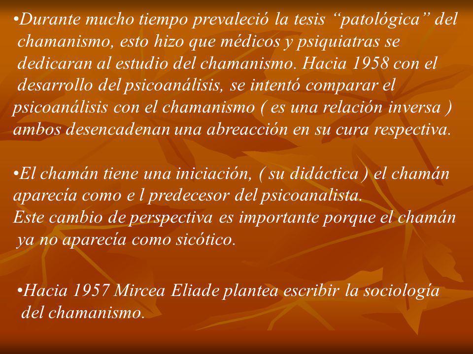 Durante mucho tiempo prevaleció la tesis patológica del chamanismo, esto hizo que médicos y psiquiatras se dedicaran al estudio del chamanismo. Hacia