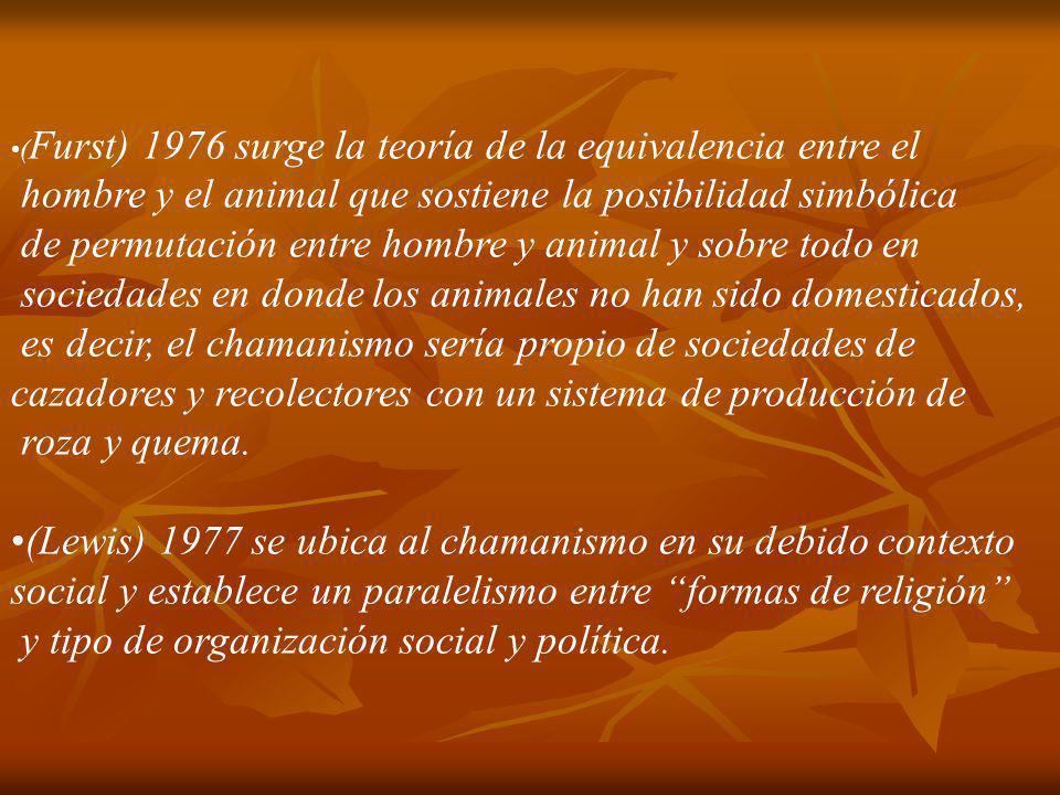 ( Furst) 1976 surge la teoría de la equivalencia entre el hombre y el animal que sostiene la posibilidad simbólica de permutación entre hombre y anima