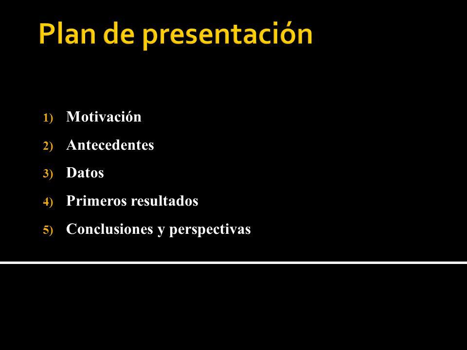 1) Motivación 2) Antecedentes 3) Datos 4) Primeros resultados 5) Conclusiones y perspectivas
