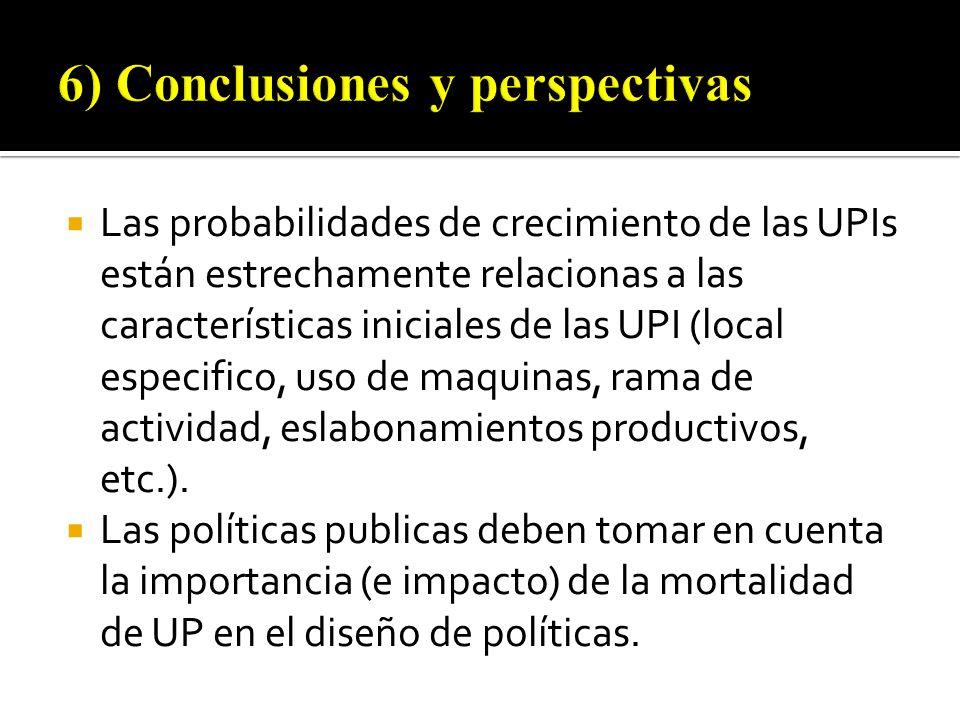 Las probabilidades de crecimiento de las UPIs están estrechamente relacionas a las características iniciales de las UPI (local especifico, uso de maquinas, rama de actividad, eslabonamientos productivos, etc.).