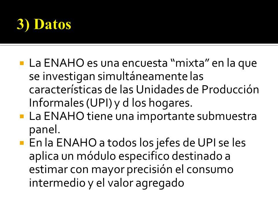 La ENAHO es una encuesta mixta en la que se investigan simultáneamente las características de las Unidades de Producción Informales (UPI) y d los hogares.