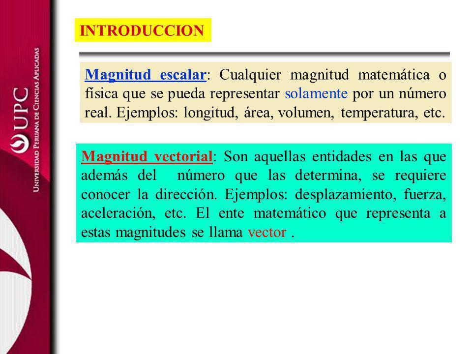 Definamos el vector como un segmento de recta dirigido.