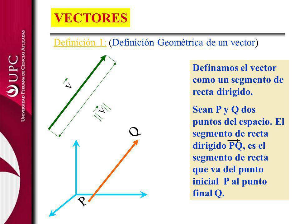 Definamos el vector como un segmento de recta dirigido. Sean P y Q dos puntos del espacio. El segmento de recta dirigido PQ, es el segmento de recta q