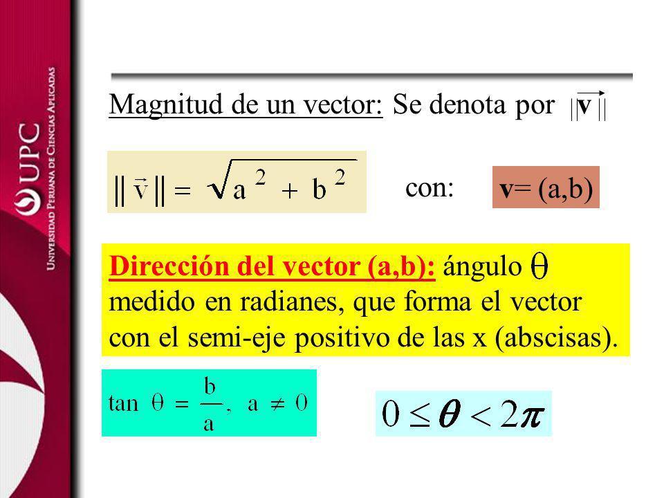 Dirección del vector (a,b): ángulo medido en radianes, que forma el vector con el semi-eje positivo de las x (abscisas). Magnitud de un vector: Se den