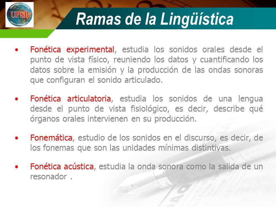 Ramas de la Lingüística Fonética experimental, estudia los sonidos orales desde el punto de vista físico, reuniendo los datos y cuantificando los dato