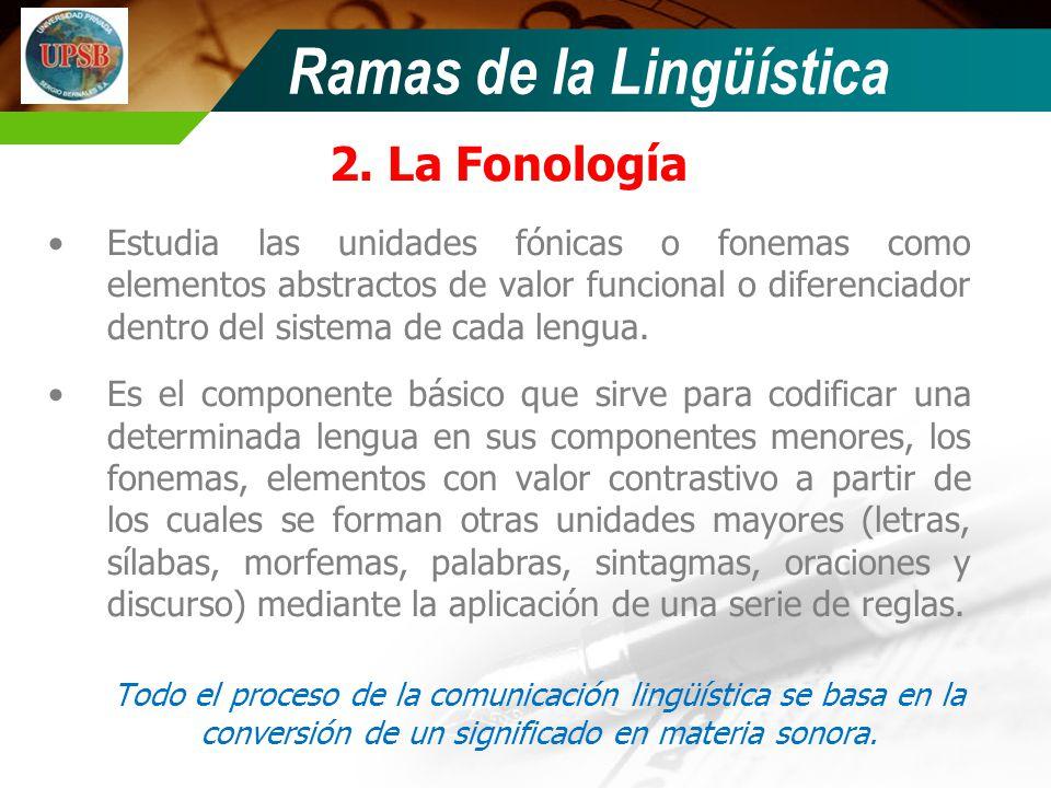 Ramas de la Lingüística 2. La Fonología Estudia las unidades fónicas o fonemas como elementos abstractos de valor funcional o diferenciador dentro del