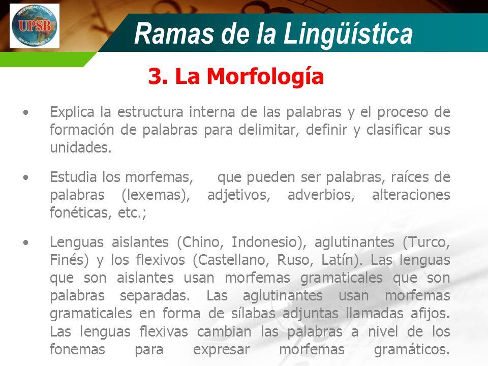 Ramas de la Lingüística 3. La Morfología Explica la estructura interna de las palabras y el proceso de formación de palabras para delimitar, definir y