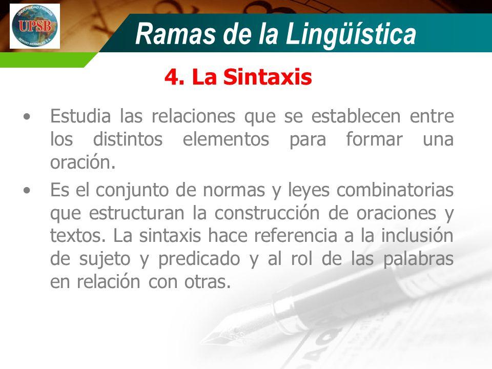Ramas de la Lingüística 4. La Sintaxis Estudia las relaciones que se establecen entre los distintos elementos para formar una oración. Es el conjunto