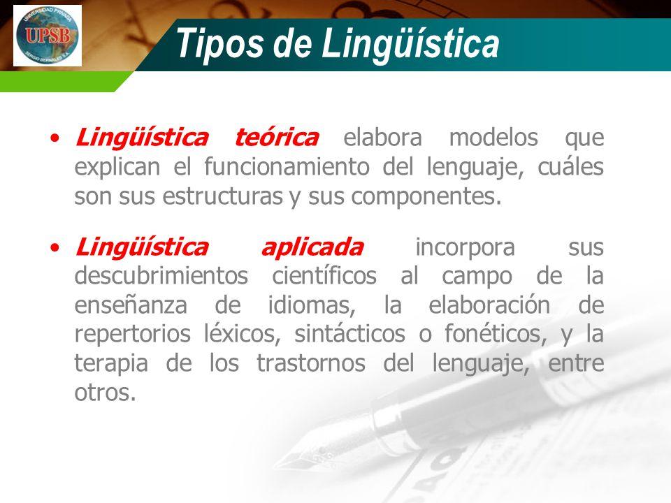 Lingüística teórica elabora modelos que explican el funcionamiento del lenguaje, cuáles son sus estructuras y sus componentes. Lingüística aplicada in