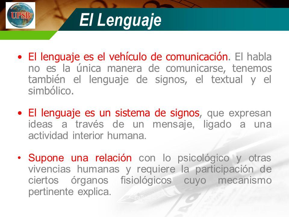 El Lenguaje El lenguaje es el vehículo de comunicación. El habla no es la única manera de comunicarse, tenemos también el lenguaje de signos, el textu