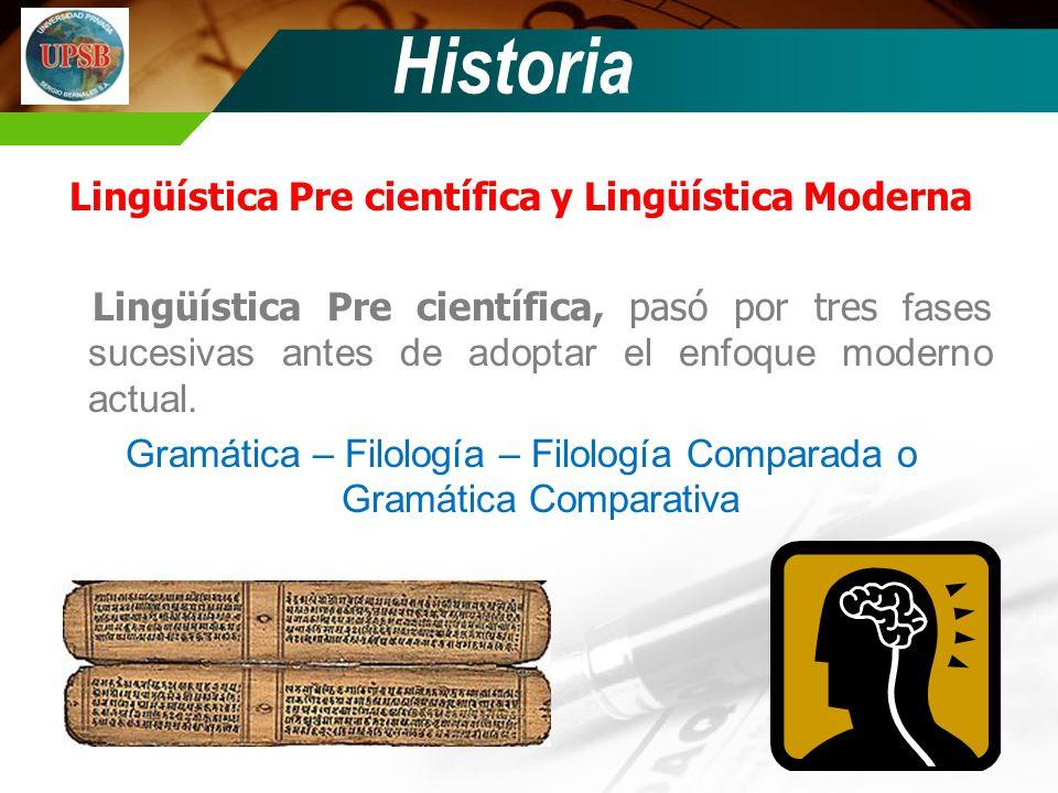 Historia Lingüística Pre científica Gramática Filología Filología Comparada o Gramática Comparativa Inaugurado por los griegos y continuado por los franceses.