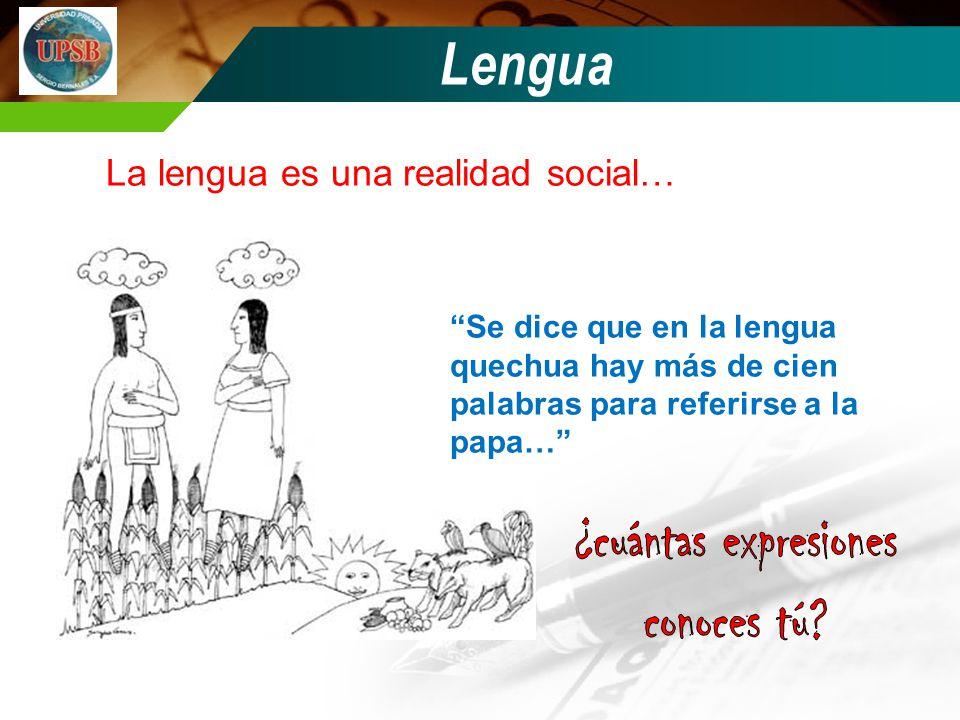 Lengua La lengua es una realidad social… Se dice que en la lengua quechua hay más de cien palabras para referirse a la papa…