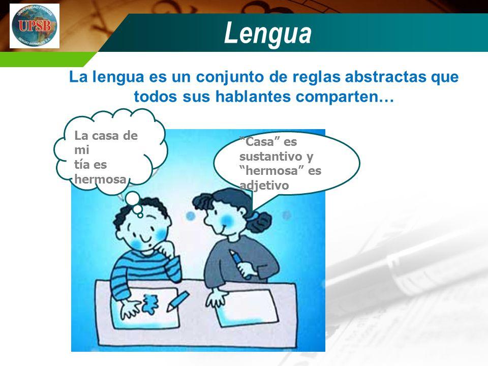 Lengua La lengua es un conjunto de reglas abstractas que todos sus hablantes comparten… Casa es sustantivo y hermosa es adjetivo La casa de mi tía es