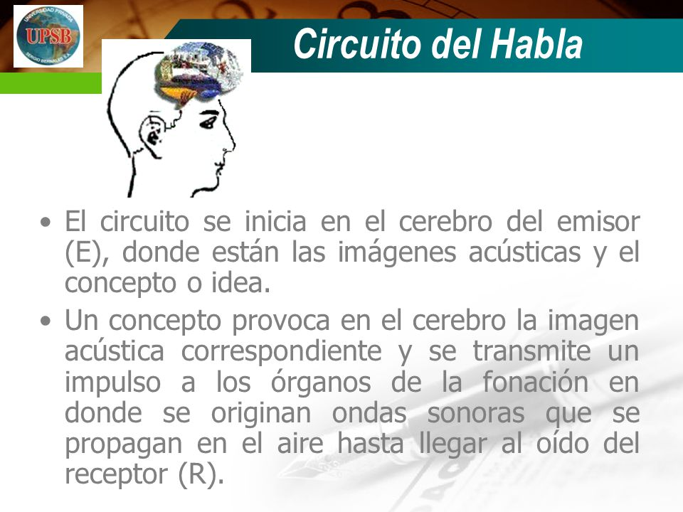 El circuito se inicia en el cerebro del emisor (E), donde están las imágenes acústicas y el concepto o idea.