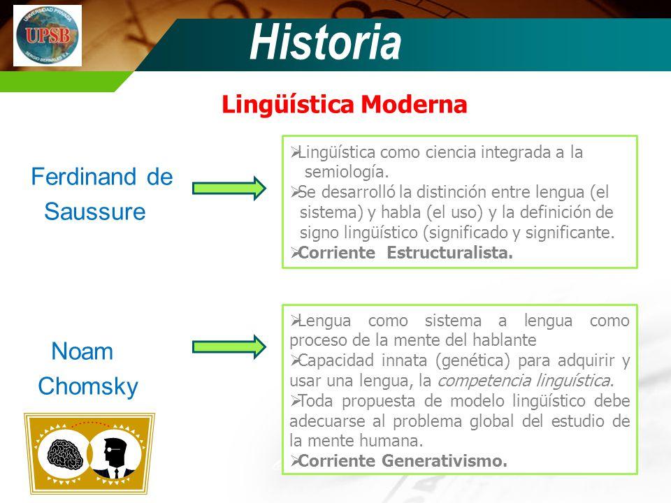Historia Lingüística Moderna Ferdinand de Saussure Noam Chomsky Lingüística como ciencia integrada a la semiología. Se desarrolló la distinción entre