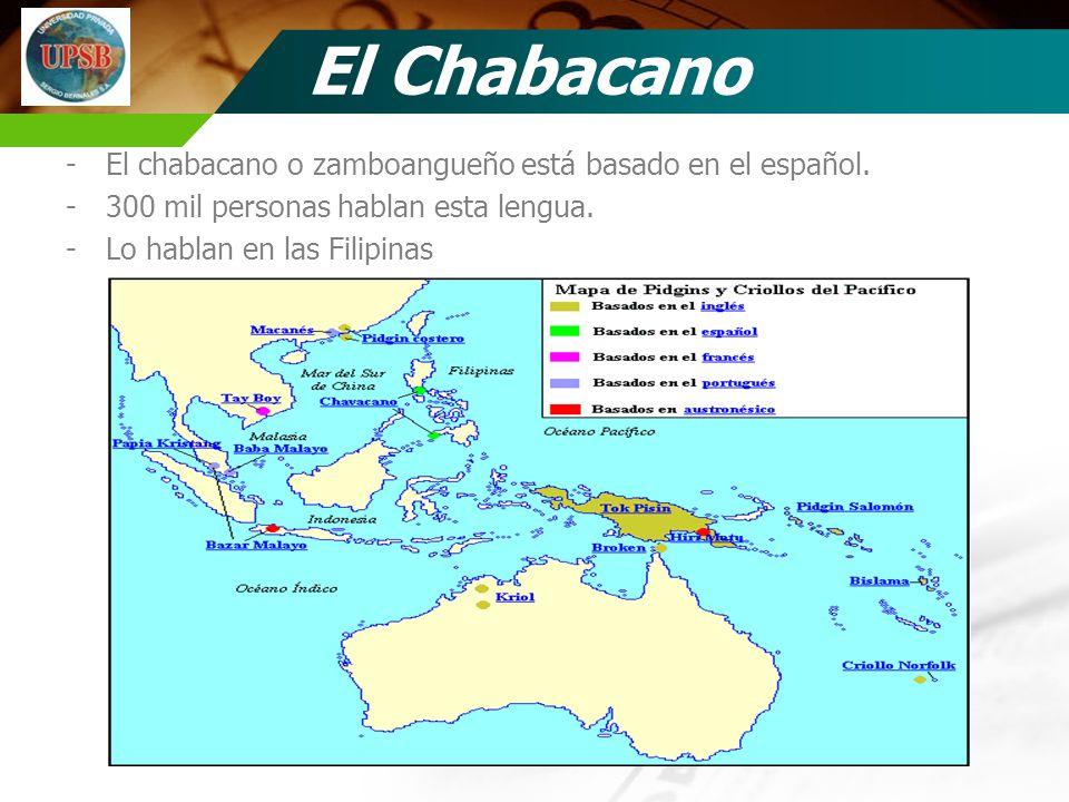 El Chabacano -El chabacano o zamboangueño está basado en el español. -300 mil personas hablan esta lengua. -Lo hablan en las Filipinas