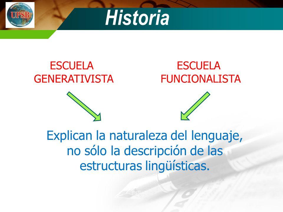Historia ESCUELA GENERATIVISTA ESCUELA FUNCIONALISTA Explican la naturaleza del lenguaje, no sólo la descripción de las estructuras lingüísticas.