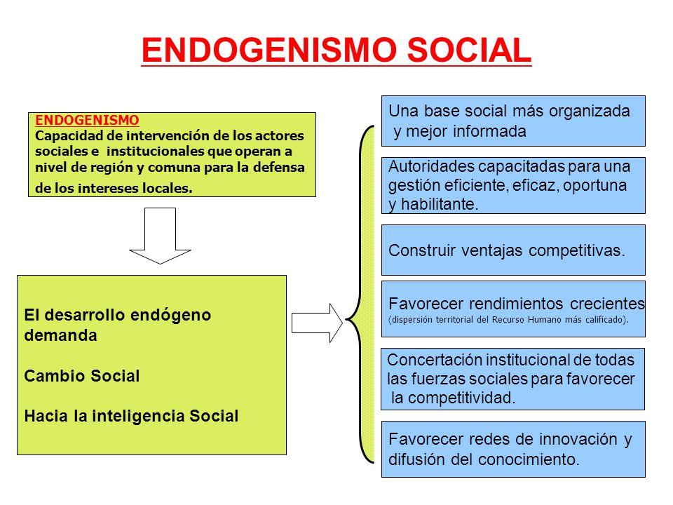ENDOGENISMO SOCIAL El desarrollo endógeno demanda Cambio Social Hacia la inteligencia Social ENDOGENISMO Capacidad de intervención de los actores sociales e institucionales que operan a nivel de región y comuna para la defensa de los intereses locales.