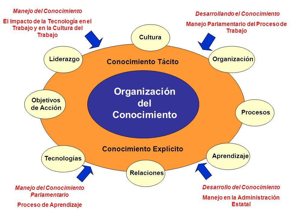 Cultura Liderazgo Objetivos de Acción Tecnologías Relaciones Aprendizaje Procesos Organización Organización del Conocimiento Conocimiento Tácito Conoc