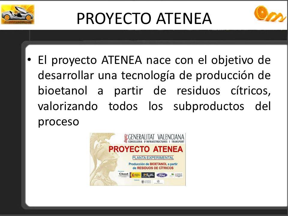PROYECTO ATENEA El proyecto ATENEA nace con el objetivo de desarrollar una tecnología de producción de bioetanol a partir de residuos cítricos, valori