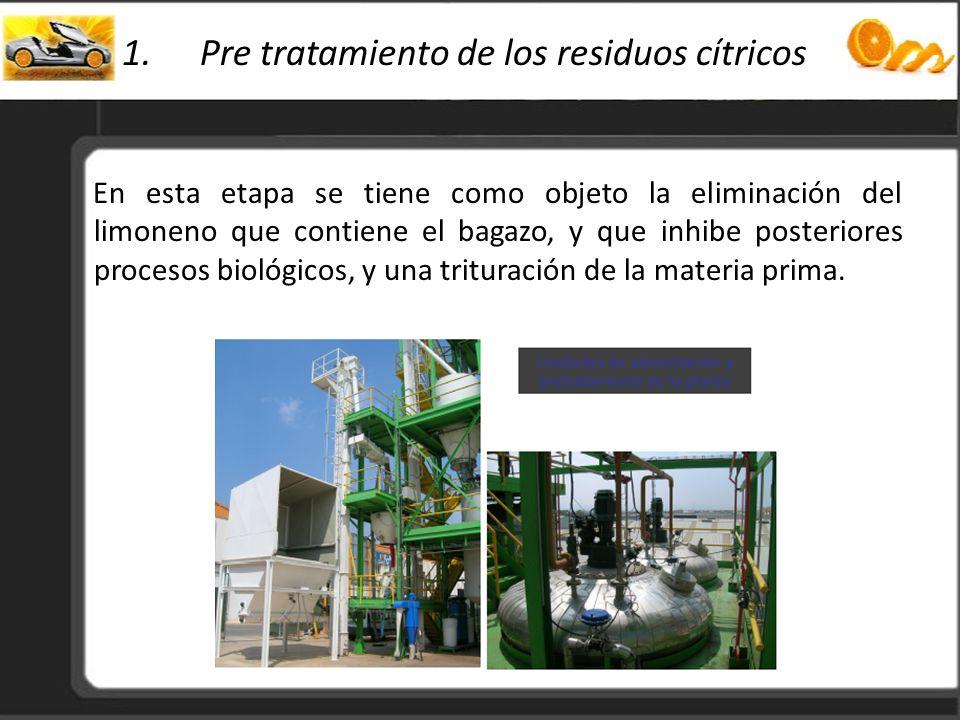 1.Pre tratamiento de los residuos cítricos En esta etapa se tiene como objeto la eliminación del limoneno que contiene el bagazo, y que inhibe posteri