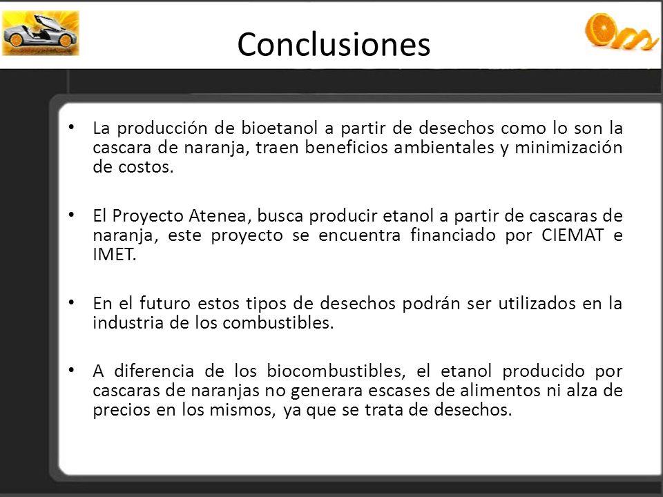 Conclusiones La producción de bioetanol a partir de desechos como lo son la cascara de naranja, traen beneficios ambientales y minimización de costos.