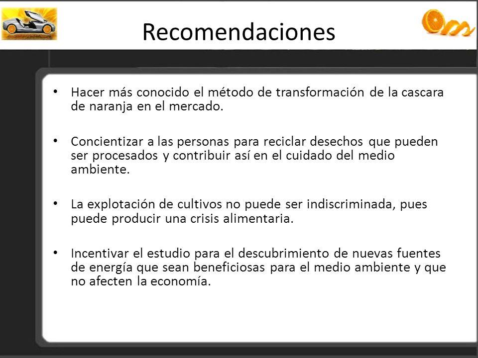 Recomendaciones Hacer más conocido el método de transformación de la cascara de naranja en el mercado. Concientizar a las personas para reciclar desec