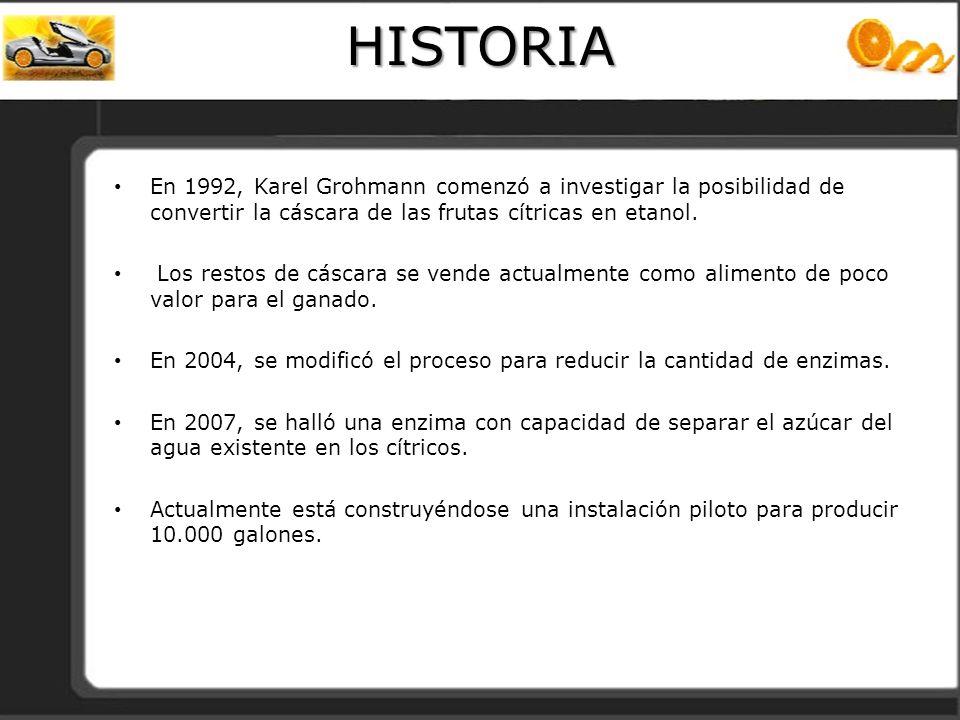 HISTORIA En 1992, Karel Grohmann comenzó a investigar la posibilidad de convertir la cáscara de las frutas cítricas en etanol. Los restos de cáscara s
