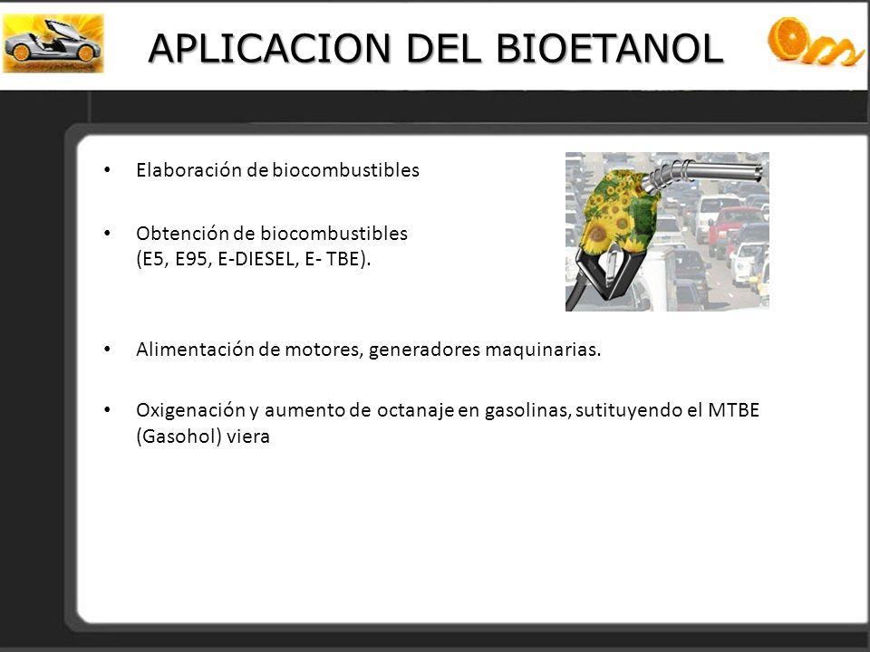 APLICACION DEL BIOETANOL Elaboración de biocombustibles Obtención de biocombustibles (E5, E95, E-DIESEL, E- TBE). Alimentación de motores, generadores