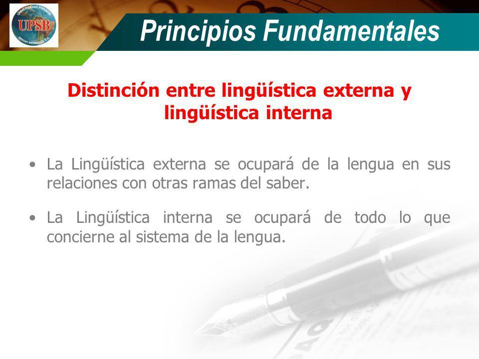 Distinción entre lingüística externa y lingüística interna La Lingüística externa se ocupará de la lengua en sus relaciones con otras ramas del saber.